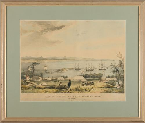 Lithograph of 'View of Nelsons Haven, in Tasman's Gulf, by Charles Heaphy'